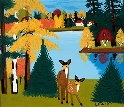 Maud Lewis, Deer and Village Scene in Winter, c 1960s