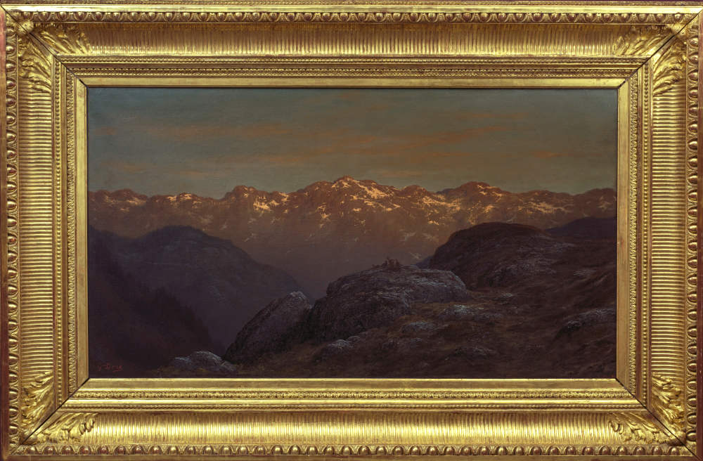 Gustave Doré, Landscape with the Pyrenees, c 1860. Oil on canvas, 95.3 x 179.5 cm. Gift of Dr. and Mrs. S. T. Laufer, Halifax, Nova Scotia, 1991. 1991.39