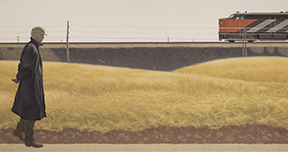 Alex Colville Ocean Limited, 1962 Oil and synthetic resin on Masonite, 68.5 x 119.3 cm.  Purchased with funds provided by Christopher Ondaatje, Toronto, Ontario, the Art Sales and Rental Society, Halifax, Nova Scotia and a Private Donor, 1994. 1994.18 © A.C. Fine Art Inc.