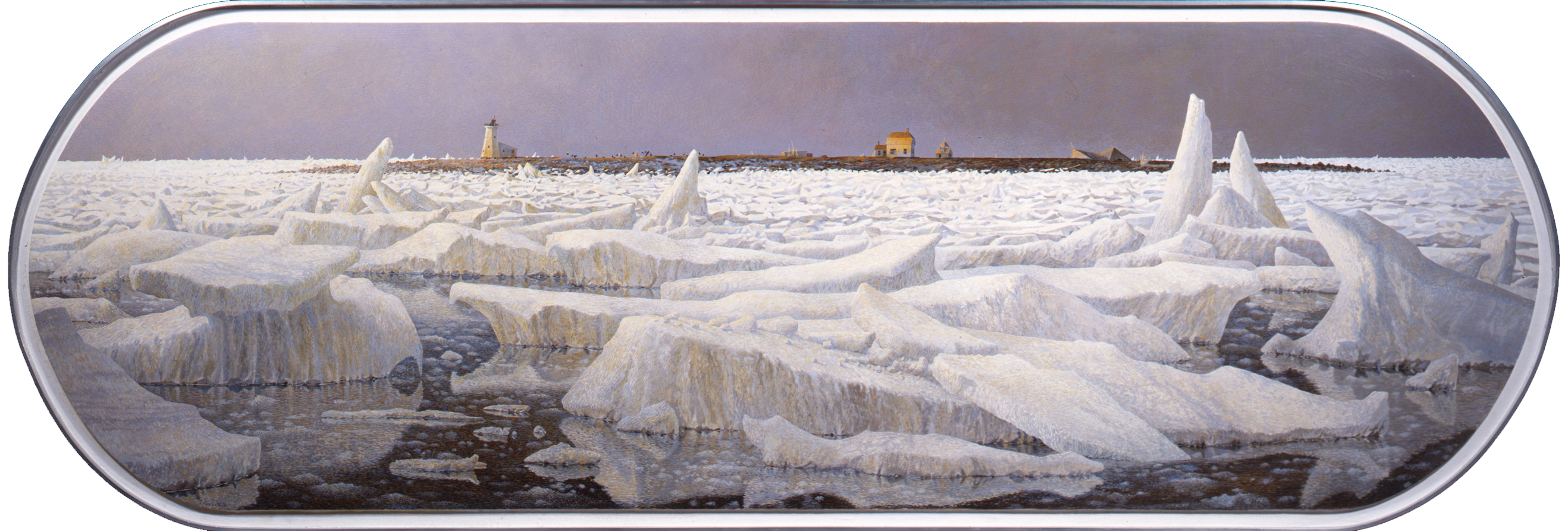 Tom Forrestall, Island in the Ice, 1987. Egg tempera on Masonite, 72.5 x 214.5 cm. Acquisition made possible with funds provided by Christopher Ondaatje, Toronto, Ontario, 1994. 1994.19