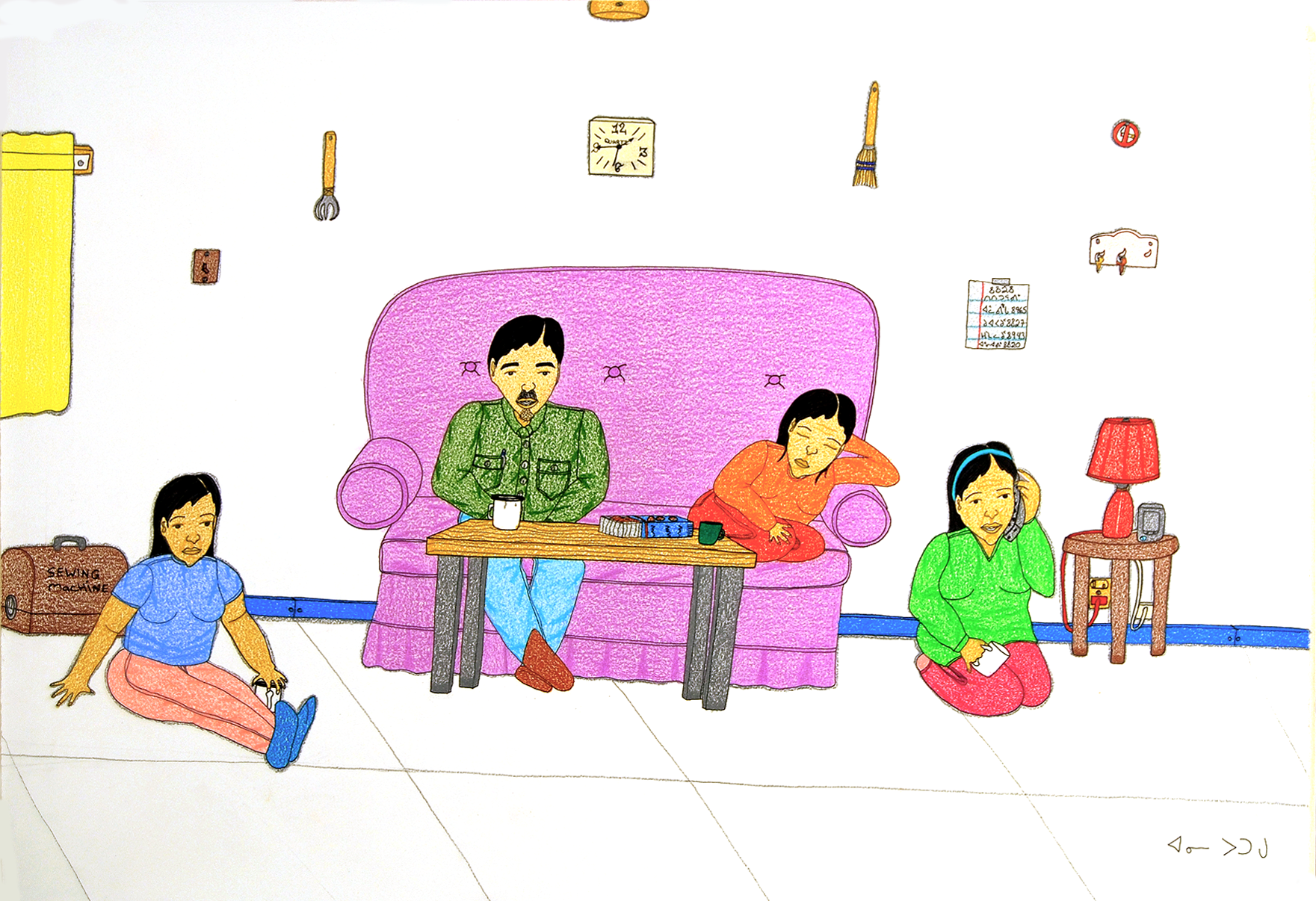 Living Room, 2006, by Annie Pootoogook. Purchased with funds provided by the Sobey Art Foundation, Stellarton, Nova Scotia, 2007.
