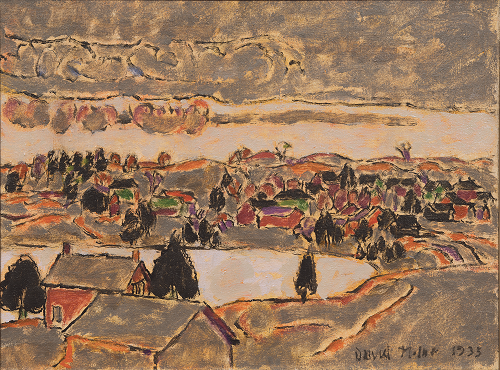 Hills and Lake, Palgrave (Spring Storm in the Hills) / Blue Roofs and Blue Hills, 1933, David Milne. Gift of Donald R. Sobey, Stellarton, Nova Scotia, 2018