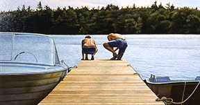 John Ward  The Dock, 1978, Acrylic on Canvas, 54.0 x83.5 cm. Gift of Christopher Ondaatje, Toronto, Ontario, 1994. 1994.253