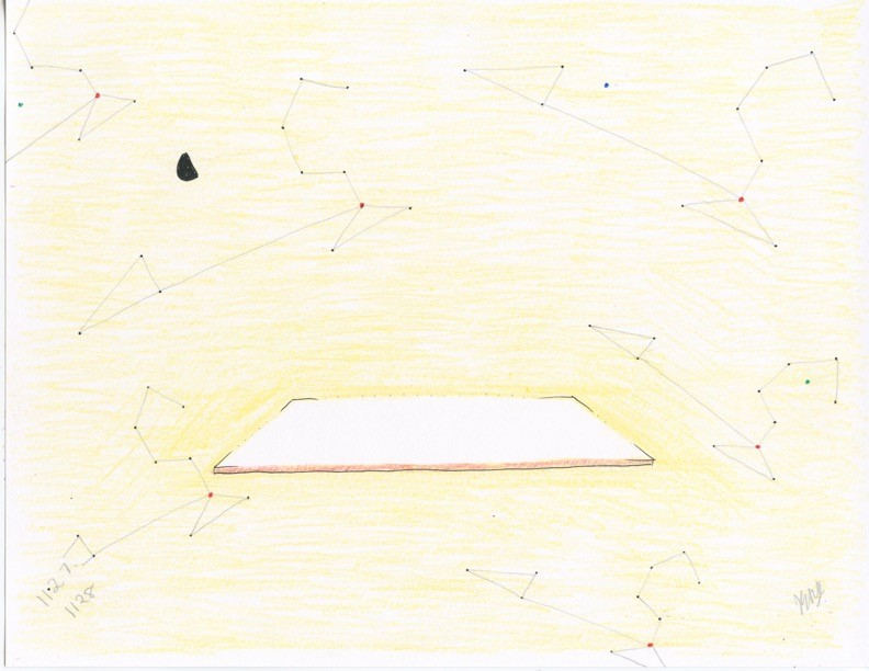John Devlin, naked-eye astronomy no. 1127, 1 August 2016, mixed media on paper, 21.59 x 27.94 cm., collection the artist