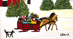 Maud Lewis, Sleigh Ride (c 1960s), Oil on pulpboard, 26.5 x 30.0 cm. On loan from the Department of Tourism and Culture, 1995. TL1995.1
