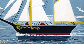 Maud Lewis, Bluenose, 1960s. Oil over graphite on board, 29.0 x 42.6 cm. Private Collection, 2007.