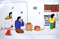 Annie Pootoogook  Man Talking on CB Radio (2003-2004) wax pastel and ink on Ragston paper 45.1 x 66.5 Purchased with funds made available from the Jane Shaw Law Endowment Fund, 2007 2007.111