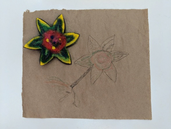 Artwork - felted pin & drawing