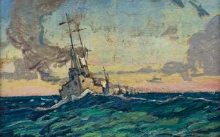 Arthur Lismer, <em>Mine Sweepers at Sea</em>, 1917. Oil on board, 30.4 x 40.7 cm. Purchase, 1974