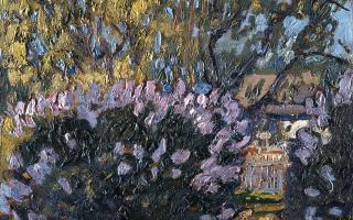 Arthur Lismer, Lilac Time, c 1917, Oil on panel, 23.0 x 30.5 cm. Gift of Doreen Fraser, Halifax, Nova Scotia, 1977