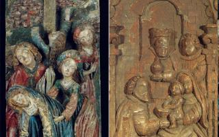 Left: <em>The Crucifixion </em> (Malines Region); Right: <em>Adoration of the Magi</em> (South Netherlands)