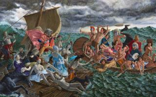Kent Monkman, <em>Miss Chief's Wet Dream</em>, 2018, acrylic on canvas 365.7 x 731.5 cm. Gift of the Donald R. Sobey Foundation, 2018.