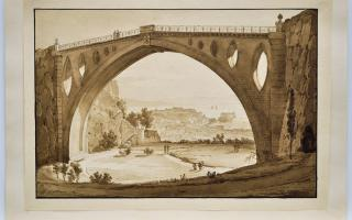 Giacinto Gigante, Untitled [View of a Bridge over a Gorge at the Villa Floridiana, 1826, Ink wash over graphite on wove paper, 21.0 x 29.8 cm (support). Gift of Emanuel Laufer, Halifax, Nova Scotia, 2016, with assistance from the Dr. S.T. Laufer and Mrs. Irmgard Laufer Endowment.