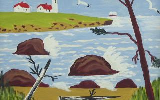 Maud Lewis, <em>Untitled (Lighthouse, Yarmouth County)</em>, c. 1965, Oil over graphite on pulpboard, 30.5 x 35.5 cm. Gift of John Risley, Bedford, Nova Scotia, 2010.96