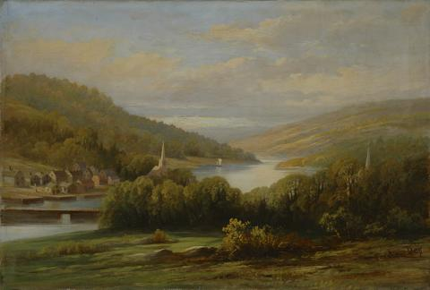 Forshaw Day, <em>View on Bear River, Digby County, Nova Scotia</em>, c 1875, Oil on canvas, 30.8 x 46.0 cm. Bequest of Dr. Thomas Trenaman, Halifax, Nova Scotia, 1914, 1914.6