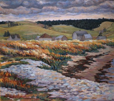 Helen Weld, Beach Grass, c 1950, Oil on pulpboard, 60.7 x 68.5 cm. Purchased with the assistance of the Canada Council Art Bank Special Purchase Assistance Program, Ottawa, Ontario, 1986, 1986.9