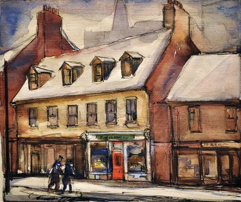 Leonard Brooks, Zwicker's Art Store, Granville Street, 1938, Watercolour and graphite on paper, 19.2 x 22.6 cm. Gift of the Estate of LeRoy J. Zwicker, Halifax, Nova Scotia, 1987, 1987.108.