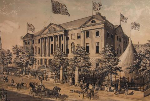 Robert D Wilkie, engraved by George DuBois, <em>Nova Scotian Industrial Exhibition Building </em>, 1854, tint stone lithograph, 52.3 x 77.5 cm. Gift of John and Norma Oyler, 1995.102