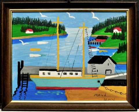 Maud Lewis, Untitled [Fishing Boat at Low Tide], 1960s, Oil on rpulpboard, 28.0 x 35.5 cm, Anonymously donated in memory of Reta Boudreau, 2013 with assistance from the Sheldon and Marjorie Fountain Endowment Fund