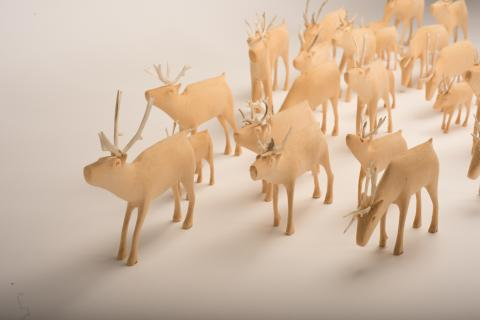 Chesley Flowers, <em>The George River Herd</em> (1995-1996), Wood and antler. 121.92 x 121.92 cm. The Rooms Provincial Art Gallery, Memorial University Collection. Photo: Ned Pratt Photography.