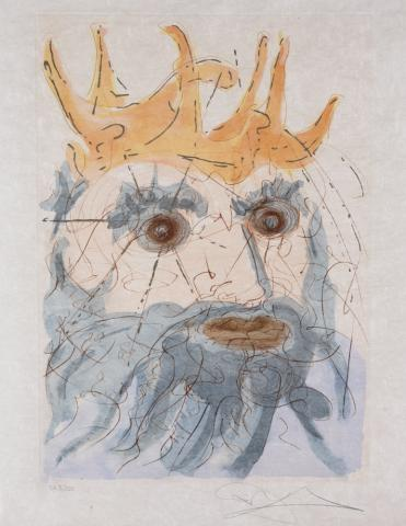 Salvador Dali, King Saul (from Our Historical Heritage series), 1975, Colour drypoint with pochoir colouring on Japon paper, SA 3/300, 56.7 x 39.9 cm.Gift of Janet and Zachary Jacobson, Ottawa, Ontario, 2012.