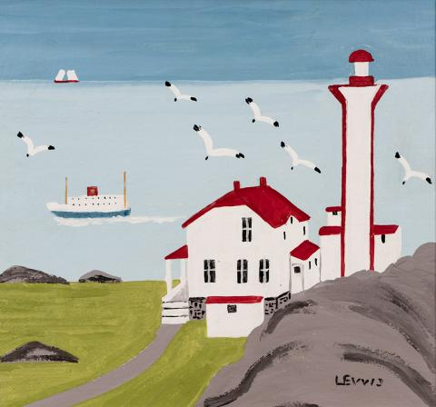 Maud Lewis, <em>Lighthouse and Ferry at Cape Forchu, Yarmouth County</em>, n.d., oil on board.