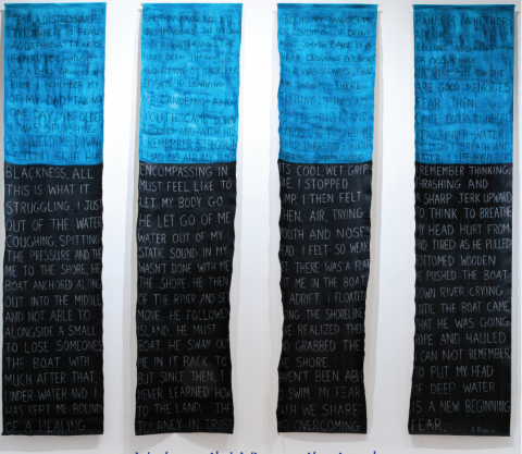 Fran Francis, Crying in the Deep, 2015-16, acrylic and beading on canvas, Qty. 4 panels ea. 90.00 cm x 388.00 cm. Courtesy of the artist. Photo: Steve Farmer.