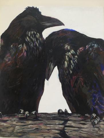 Aiden Gillis, Generations:  All We Would Learn About Ourselves if Only we Could Talk to Ravens, 2017, acrylic and oil on wood panel, 8x10in. Collection of the artist.