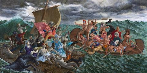 Kent Monkman, Miss Chief's Wet Dream, 2018, acrylic on canvas 365.7 x 731.5 cm. Gift of the Donald R. Sobey Foundation, 2018.