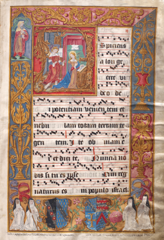 <em>The Annunciation</em>. Photograph from the <em>Salzinnes Antiphonal</em>. Courtesy CCI, Ottawa.