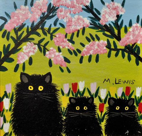 Maud Lewis, <em>Three Black Cats</em>, 1960s, Oil on pulpboard, 30.0 x 30.8 cm. Private collection.TL2018.134