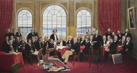Kent Monkman, <em>The Daddies</em>, 2016, Acrylic on canvas. Collection of Christine Armstrong and Irfhan Rawji.