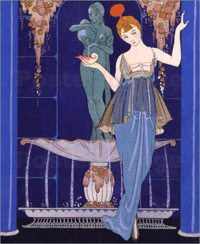 George Barbier, La Fontaine de coquillages: robe du soir de Paquin, 1913/14, lithograph with pochoir, 33.5 x 28.5 cm, 19.6 x 15.0 cm S.E.M. Gift of Arthur M Smith, NTL2017.55