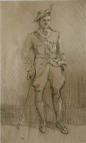 Arthur Lismer, Portrait of an Officer in the 185th Battalion Cape Breton Highlanders, 1916, charcoal and pastel on Canson paper, 55.3 x 33.2 cm. Purchase, 2009.2.