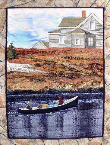 Laurie Swim, Shelburne, Nova Scotia, 1949, <em>Make-and-Break</em>,2009, Silk, lace, cotton, fibre upholstery fabrics, yarn, veil netting, 114.5 x 89.0 cm. Gift of Art Quilt Publishing Corporation, Lunenburg, Nova Scotia, 2013, with assistance from the Fred and Elizabeth Fountain Endowment for Contemporary Art, 2013.127