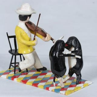 Collins Eisenhauer, Fiddler and Two Dogs Dancing, 1975, Polychrome wood and wire, 19.2 x 12.4 x 24.0 cm. Purchase, 1977.