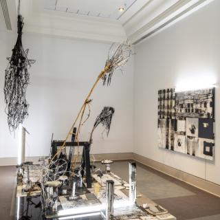 Installation view of Attila Richard Lukac's work <em> Black and White Faggot </em>