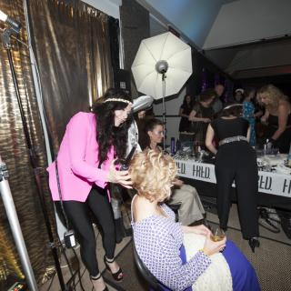 Hair being done at Studio 54 event