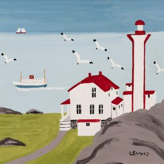 Maud Lewis, Lighthouse and Ferry at Cape Forchu, Yarmouth County,1960s, Oil on board 31.4 x 33.7 cm. Collection of CFFI Ventures Inc. as collected by John Risley, TL2017.180