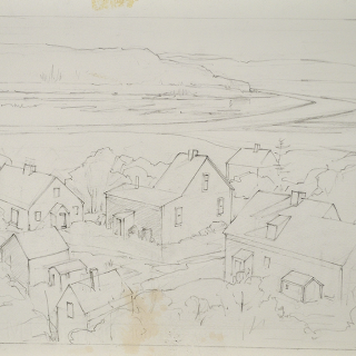 Marguerite Porter Zwicker, Untitled [Sketch of Seaside Community], c 1980s, Graphite on Fabriano paper, 28.1 x 36.6 cm. Gift of the Estate of LeRoy and Marguerite Zwicker, Halifax, Nova Scotia, 1993