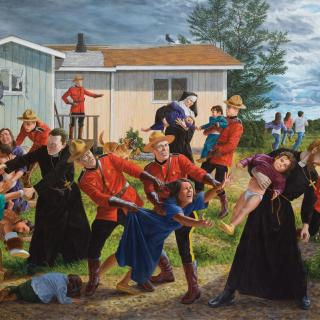 "Kent Monkman, The Scream, 2017 Acrylic on canvas. 84"" x 132"" Collection of the Denver Art Museum, Native Arts acquisition fund."