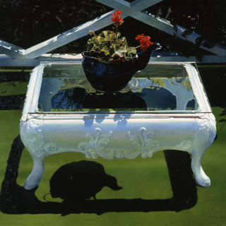 Mary Pratt, Artifacts on Astroturf, 1982, Oil on Masonite, 68.6 x 81.3 cm. Purchased with funds provided by the Art Sales and Rental Society, Halifax, Nova Scotia, 1982.