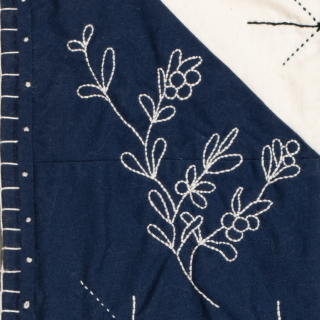 Flora May Chubbs, Sprouting Grass Moon, (detail), 2019, Fabric, embroidery floss, Labrador tea, 47.0 x 47.0 cm, Private collection. Photo by Steve Farmer.